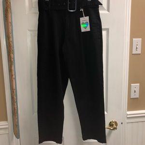 Black Belted Paper Bag Pants
